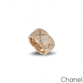 Chanel Beige / Rose Gold Diamond Coco Crush Ring J11100
